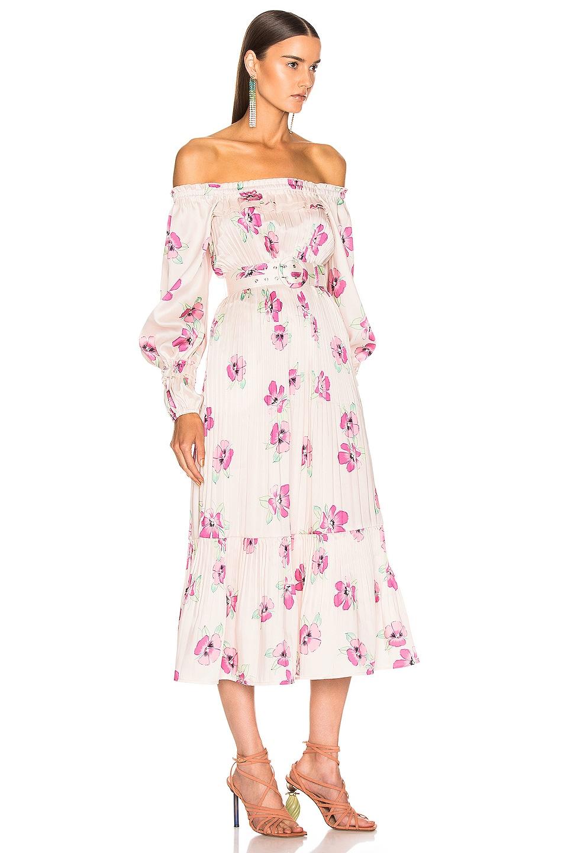 Image 3 of NICHOLAS Pleated Prairie Dress in Fuchsia Multi