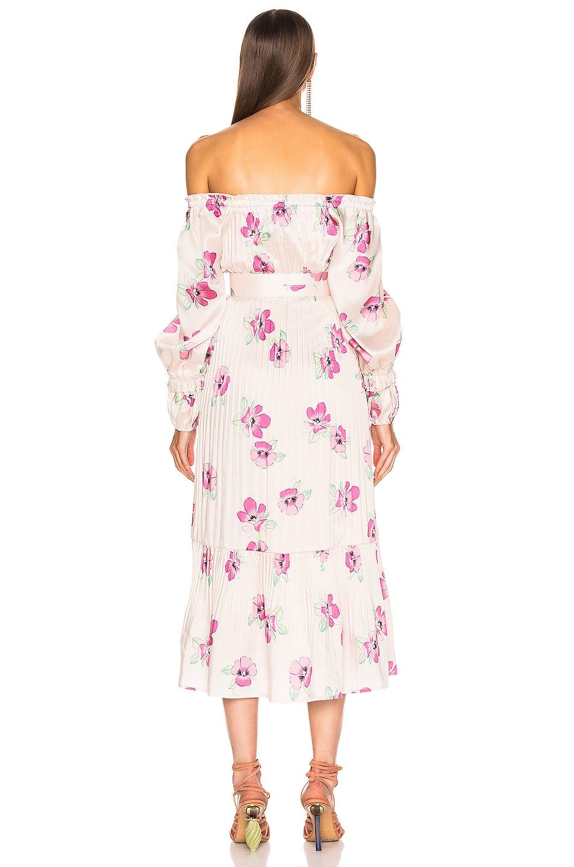 Image 4 of NICHOLAS Pleated Prairie Dress in Fuchsia Multi