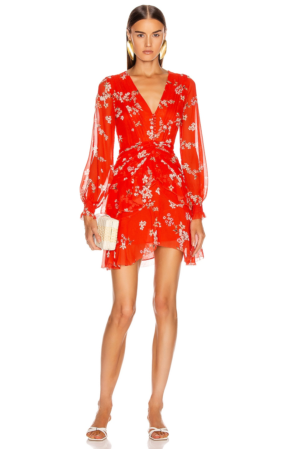 Image 1 of NICHOLAS Floral Pintuck Long Sleeve Mini Dress in Scarlet Multi