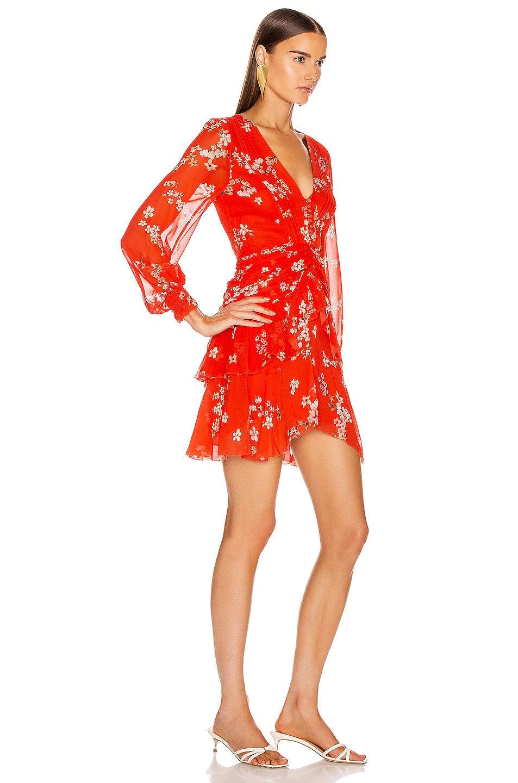 Image 2 of NICHOLAS Floral Pintuck Long Sleeve Mini Dress in Scarlet Multi