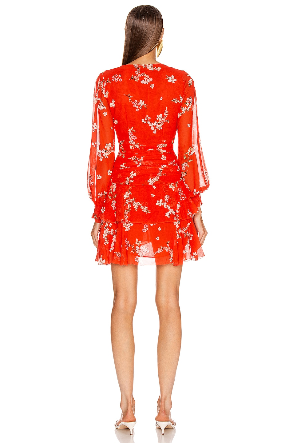 Image 3 of NICHOLAS Floral Pintuck Long Sleeve Mini Dress in Scarlet Multi