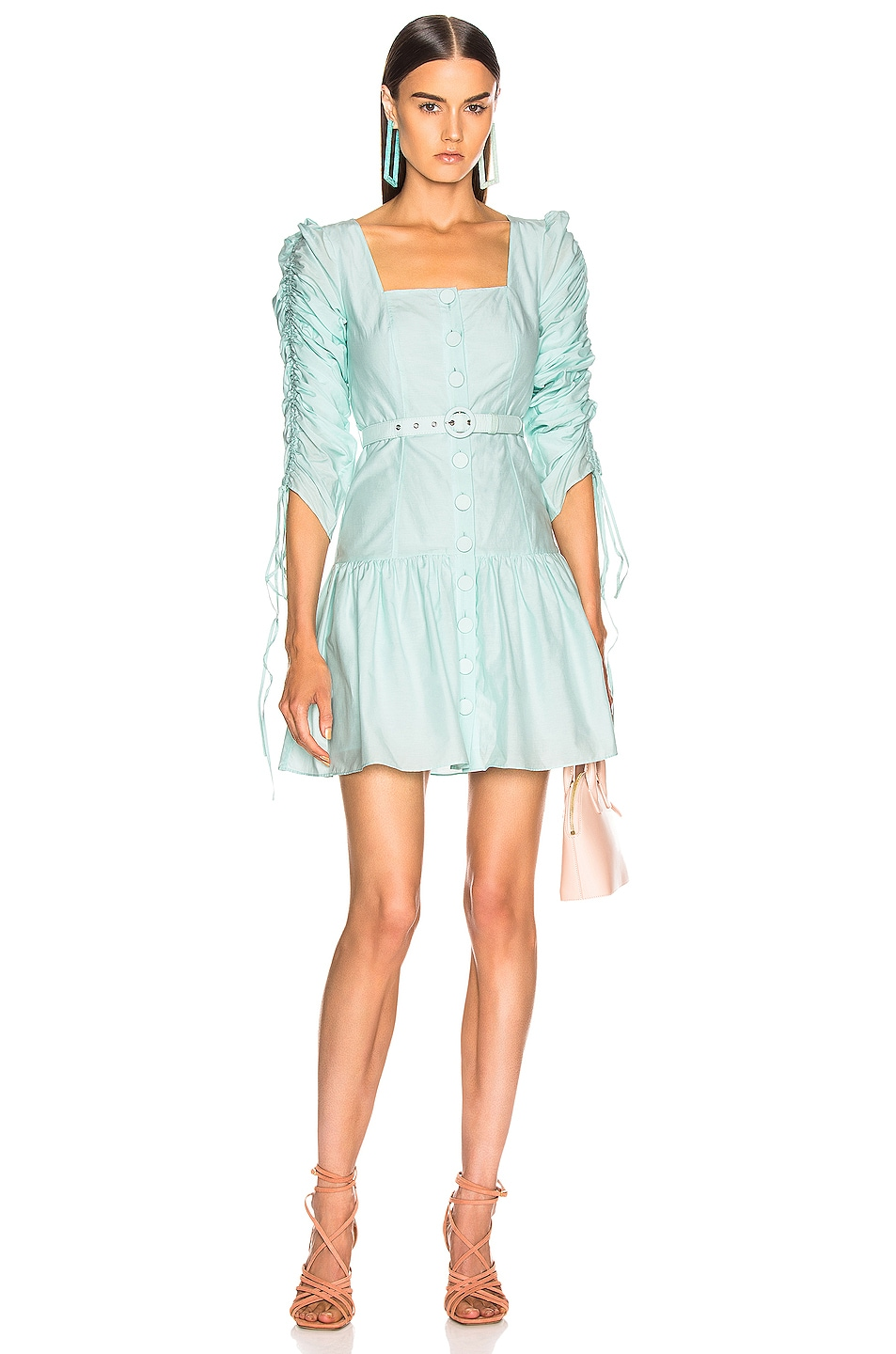 Image 1 of NICHOLAS Ruched Sleeve Button Front Dress in Light Turquoise