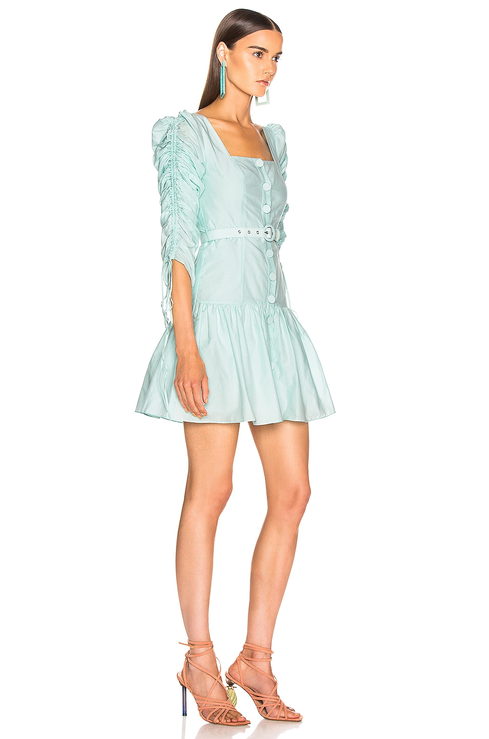 Image 2 of NICHOLAS Ruched Sleeve Button Front Dress in Light Turquoise