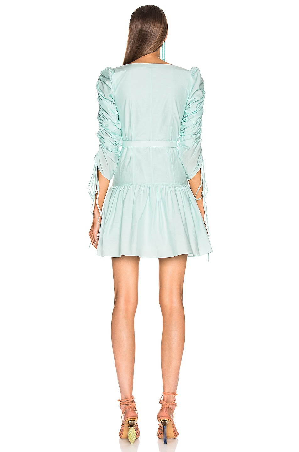 Image 3 of NICHOLAS Ruched Sleeve Button Front Dress in Light Turquoise