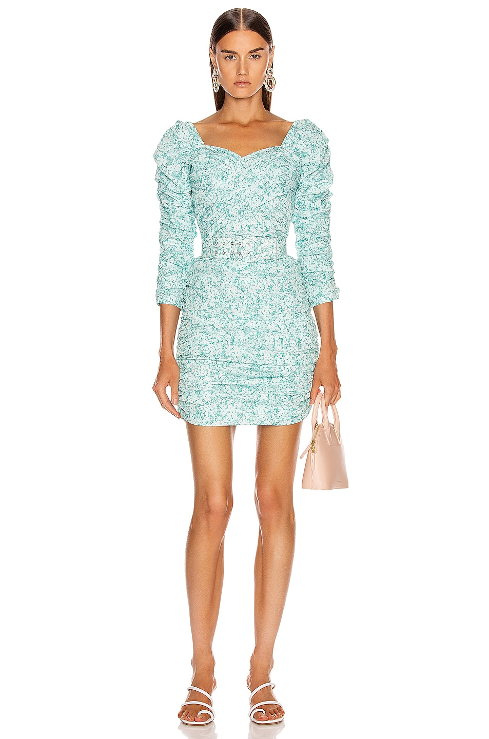 Image 1 of NICHOLAS Crossover Gathered Dress in Aqua Shadow Multi