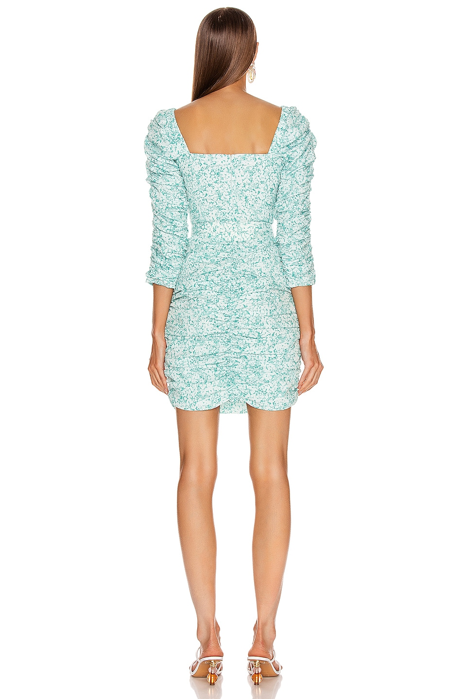 Image 3 of NICHOLAS Crossover Gathered Dress in Aqua Shadow Multi
