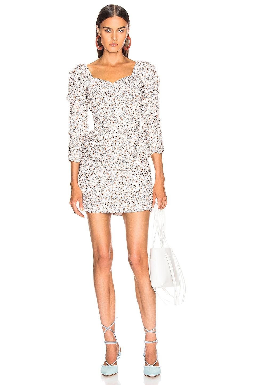 Image 1 of NICHOLAS Crossover Gathered Dress in Mango Poppy Multi