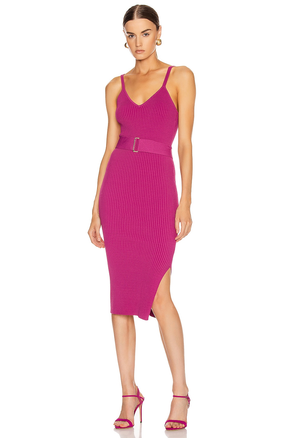 Image 1 of NICHOLAS Knit Triangle Top Dress in Berry