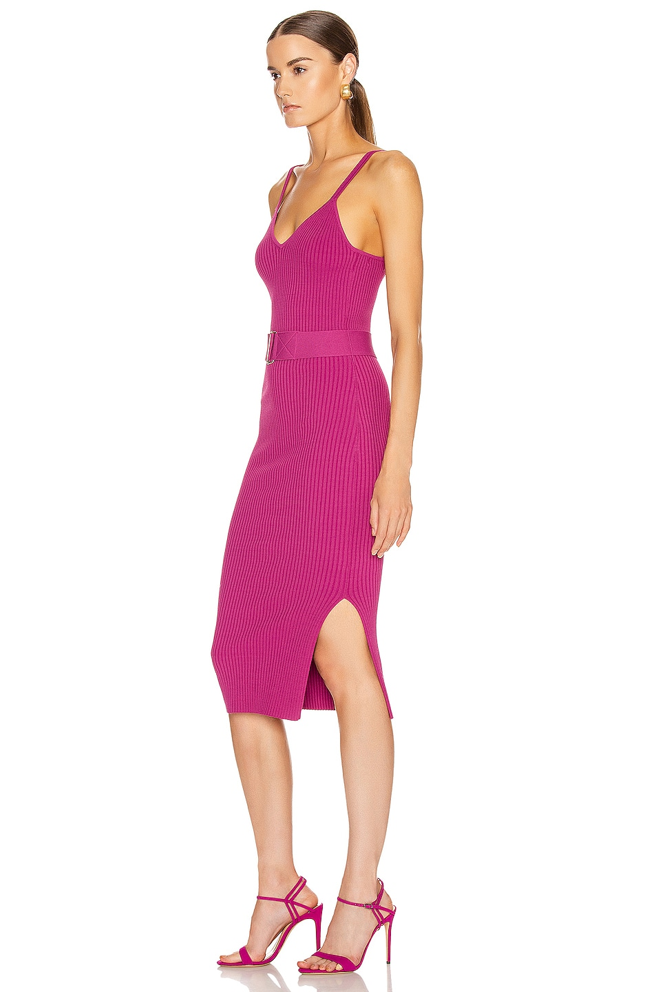 Image 3 of NICHOLAS Knit Triangle Top Dress in Berry