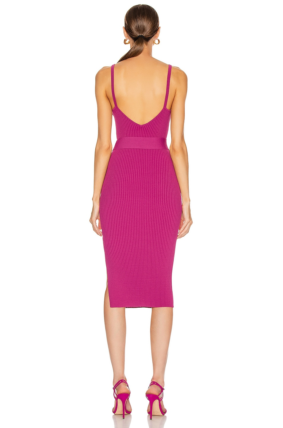 Image 4 of NICHOLAS Knit Triangle Top Dress in Berry
