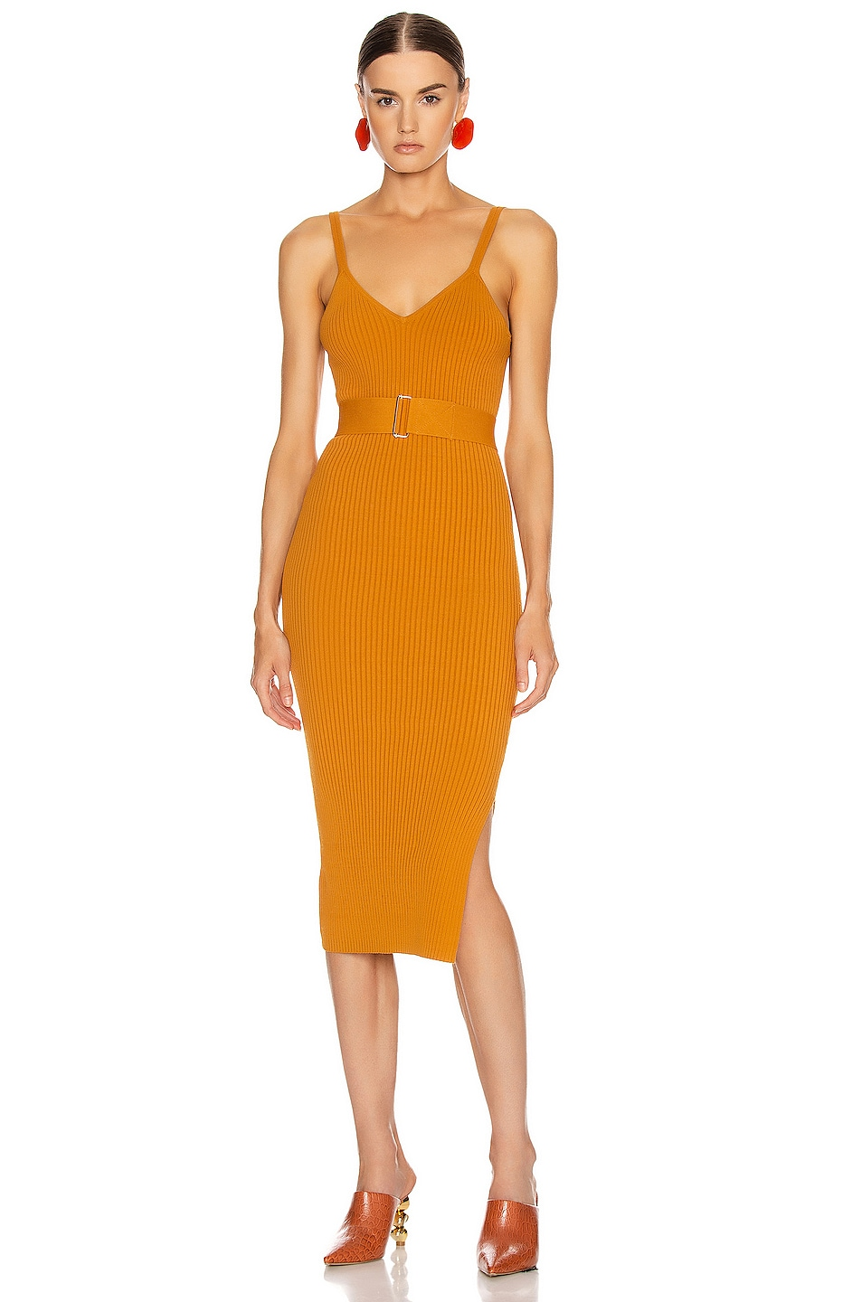 Image 1 of NICHOLAS Knit Triangle Top Dress in Dark Gold