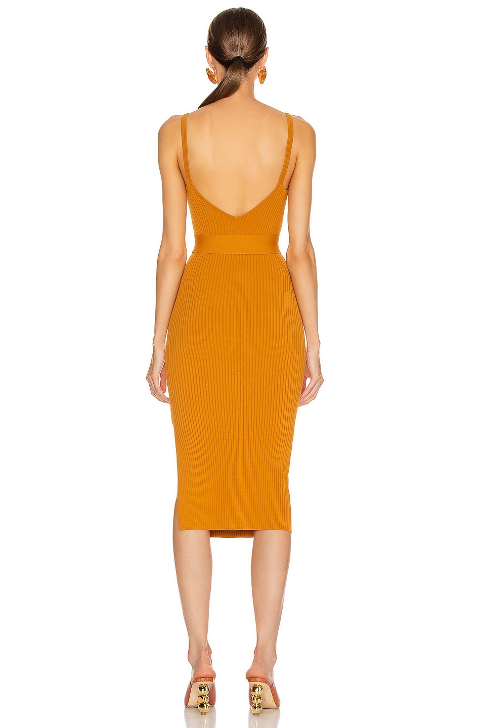 Image 4 of NICHOLAS Knit Triangle Top Dress in Dark Gold
