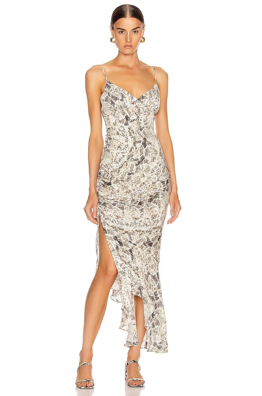Image 1 of NICHOLAS Triangle Top Slip Dress in Brown Multi