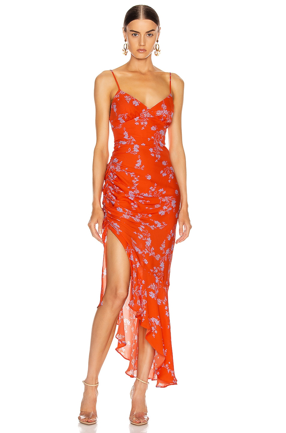 Image 1 of NICHOLAS Triangle Top Slip Dress in Poppy Multi