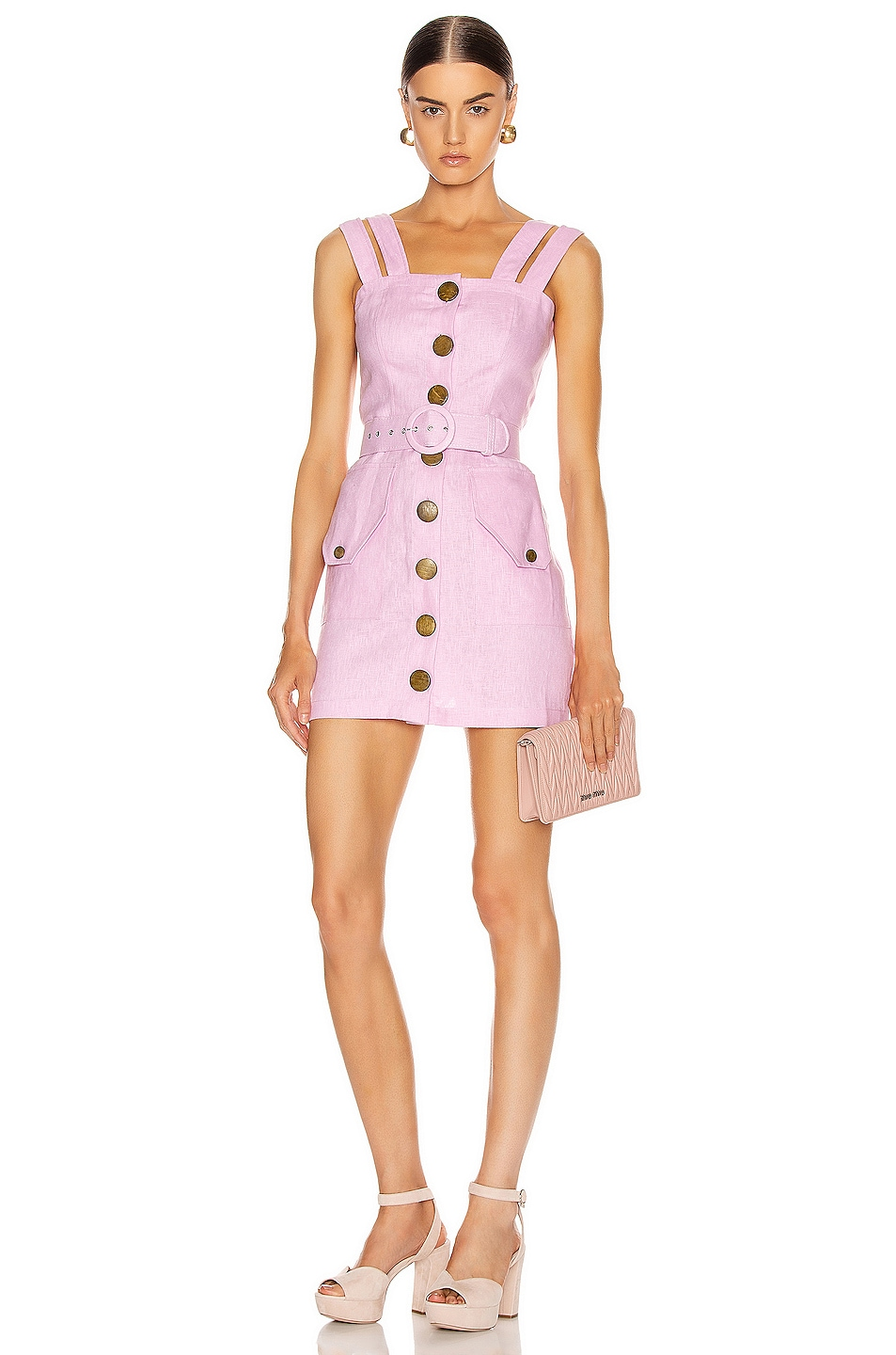 Image 1 of NICHOLAS Button Up Mini Dress in Orchid