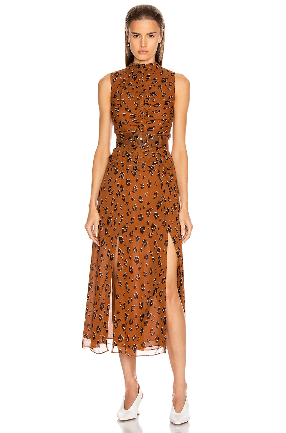 Image 1 of NICHOLAS Gathered Mock Neck Dress in Light Tobacco Leopard