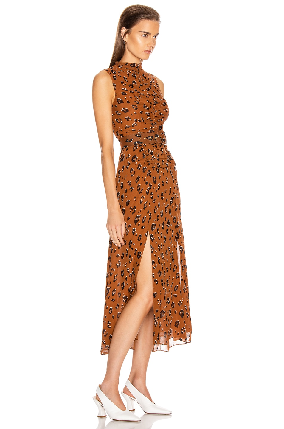 Image 2 of NICHOLAS Gathered Mock Neck Dress in Light Tobacco Leopard