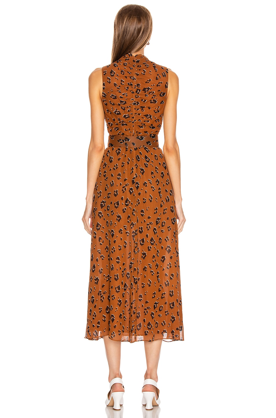 Image 3 of NICHOLAS Gathered Mock Neck Dress in Light Tobacco Leopard