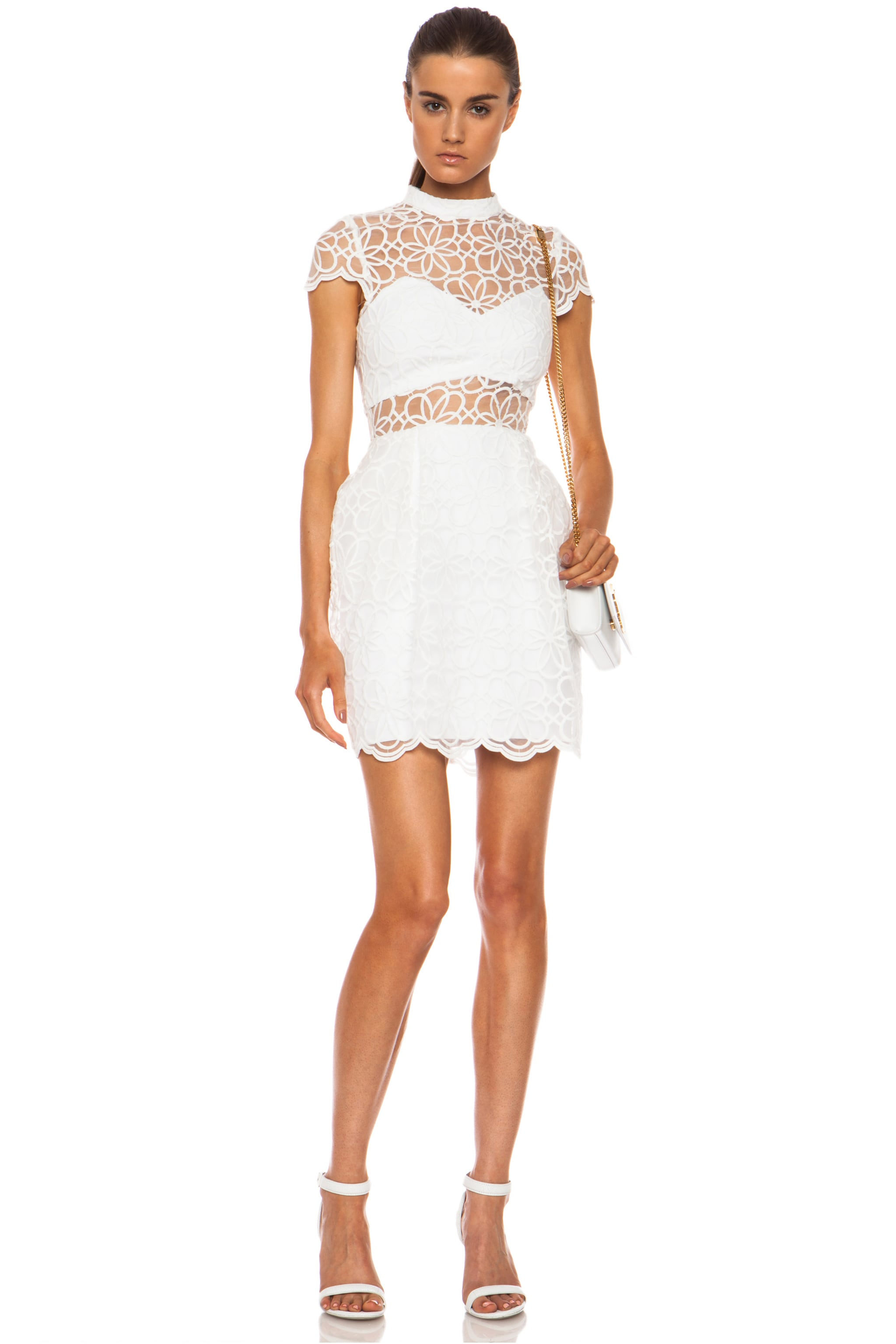 Image 1 of NICHOLAS Nylon Organza Lace Tulip Dress in White