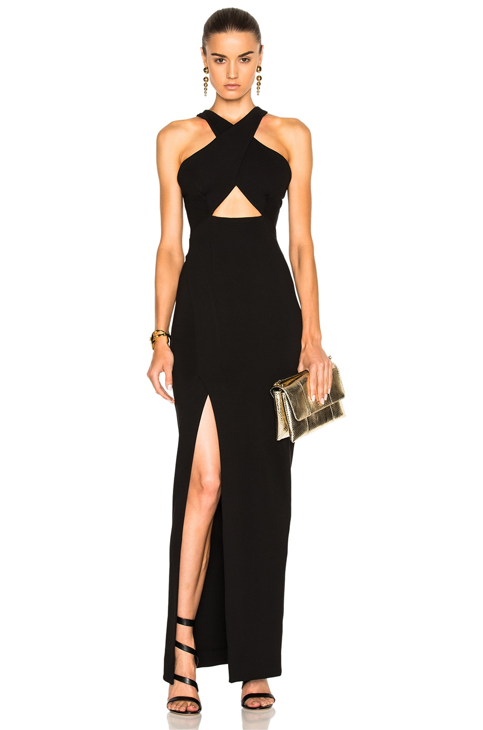 Image 1 of NICHOLAS Event Cross Over Poly-Blend Dress in Black