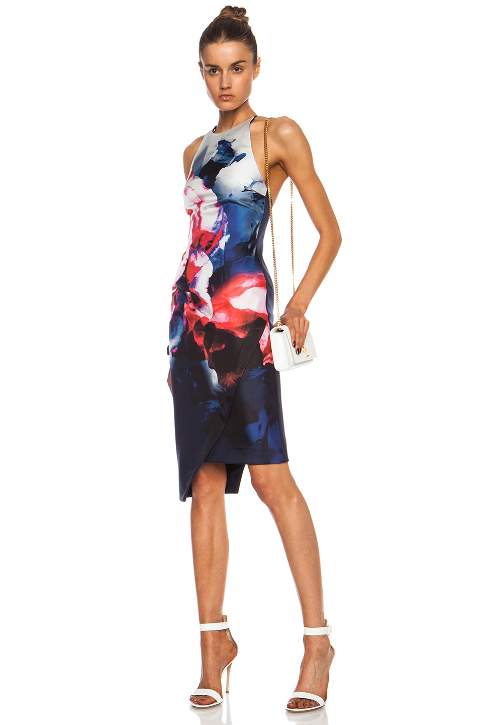 Image 1 of NICHOLAS Backless Silk Dress in Thermo Floral