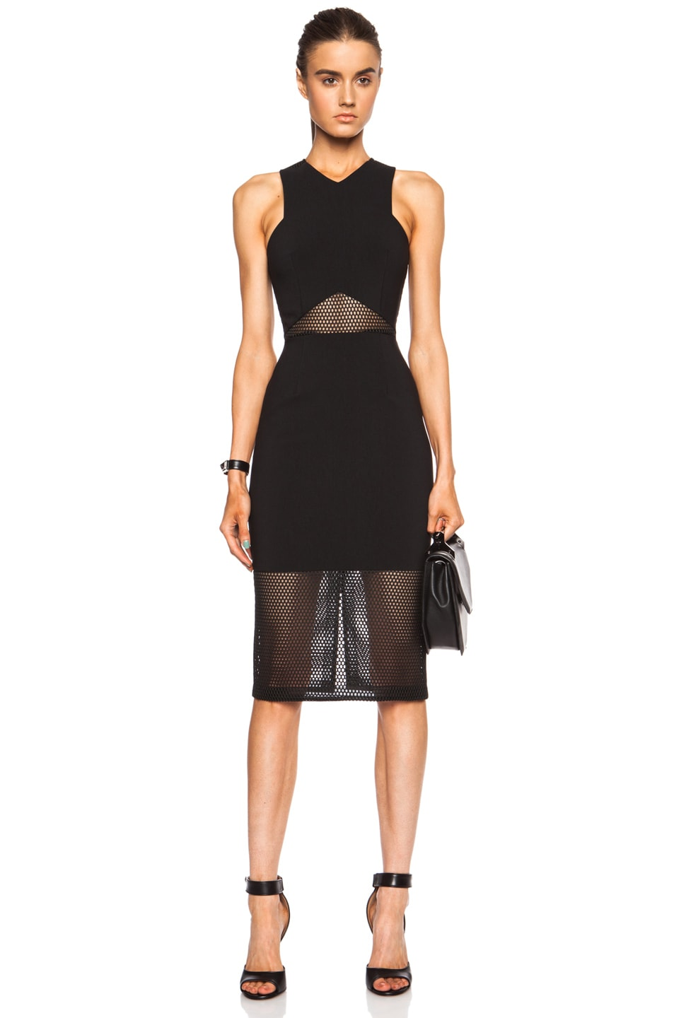 Image 1 of NICHOLAS Honeycomb Mesh Panelled Dress in Black