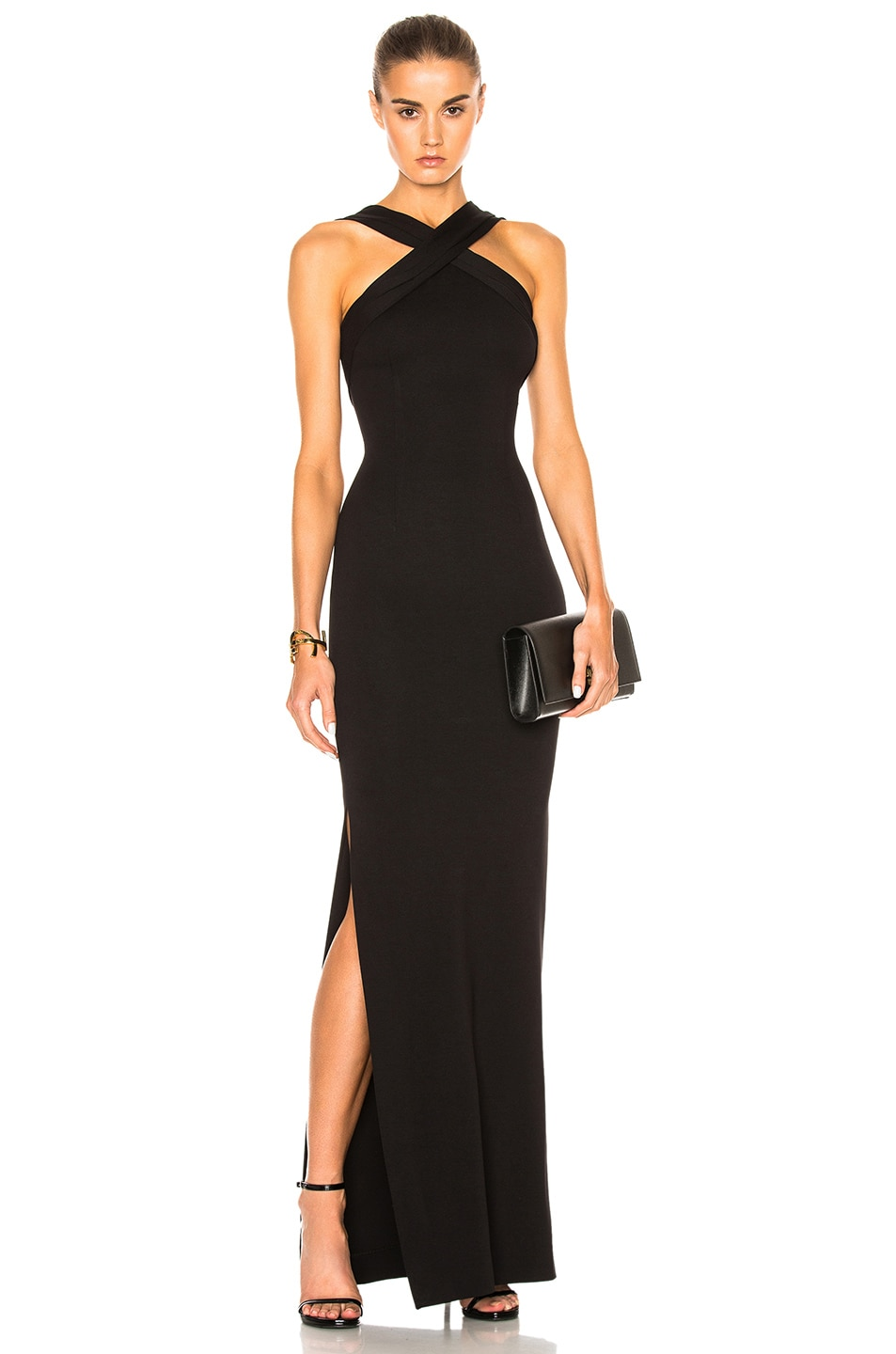 Image 1 of NICHOLAS Ponte Cross Front Gown in Black