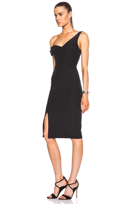 Image 2 of NICHOLAS Bonded Silk V One Shoulder Dress in Black