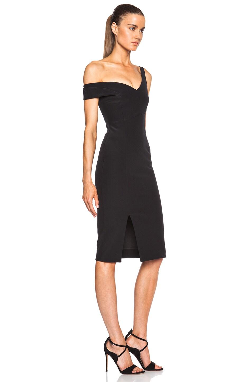 Image 3 of NICHOLAS Bonded Silk V One Shoulder Dress in Black