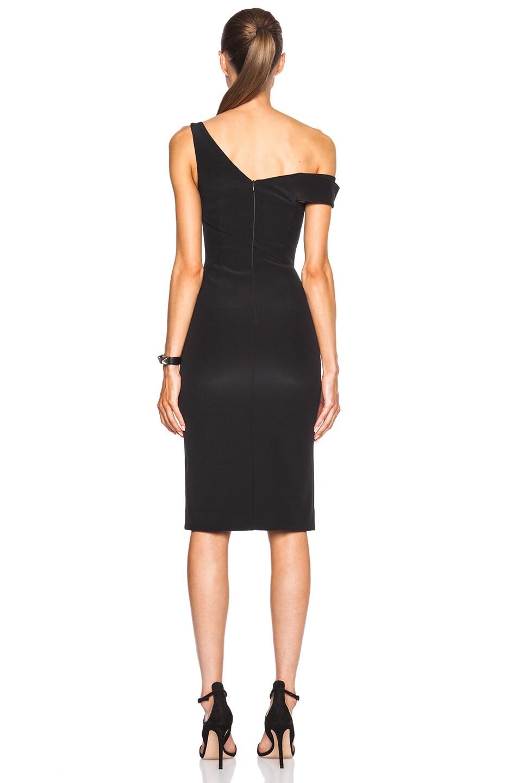 Image 4 of NICHOLAS Bonded Silk V One Shoulder Dress in Black