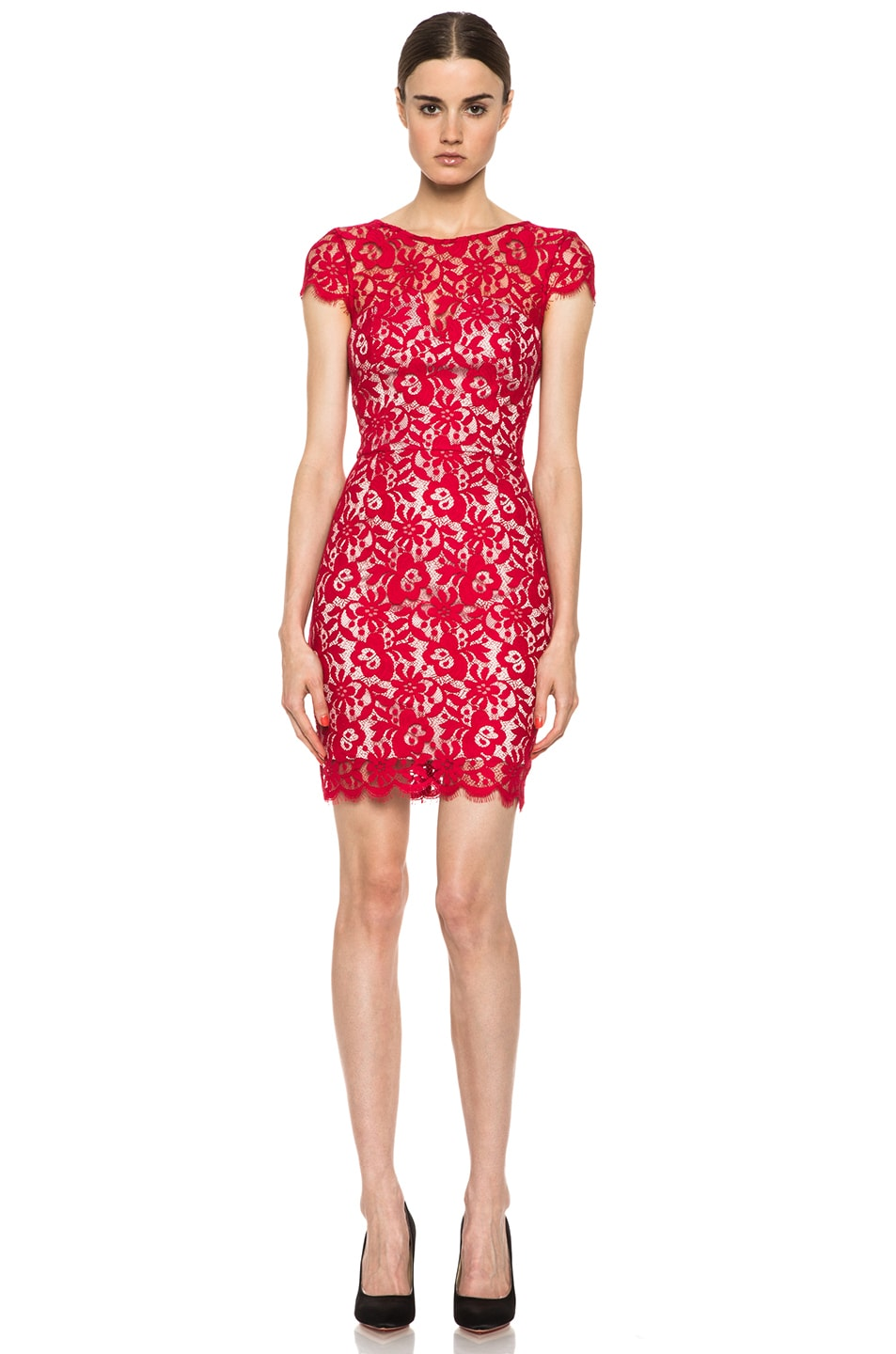 Image 1 of NICHOLAS Colette Lace Knit Dress in Red