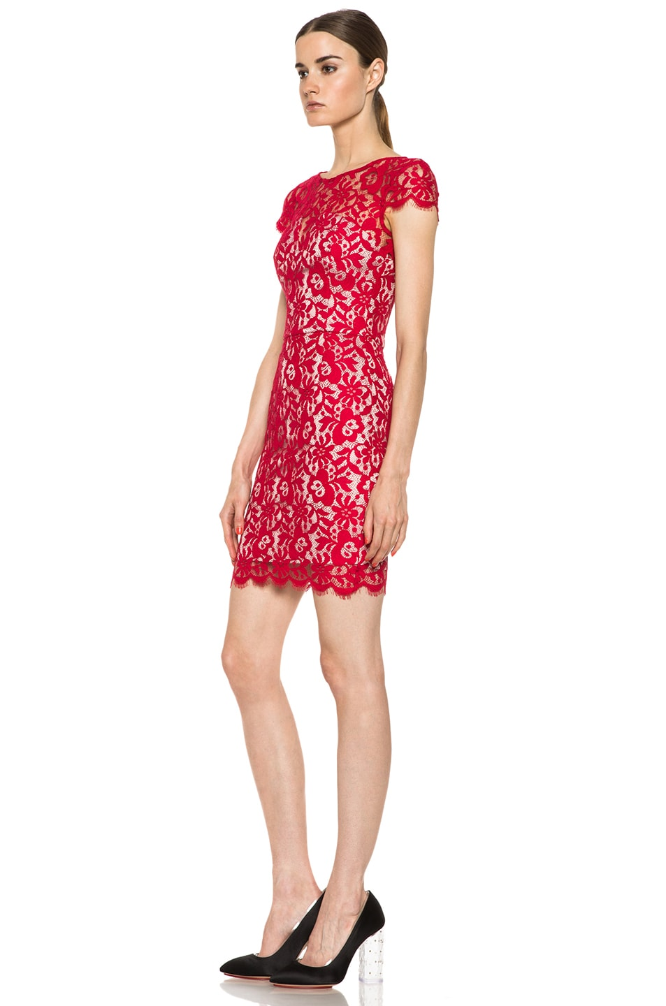 Image 2 of NICHOLAS Colette Lace Knit Dress in Red