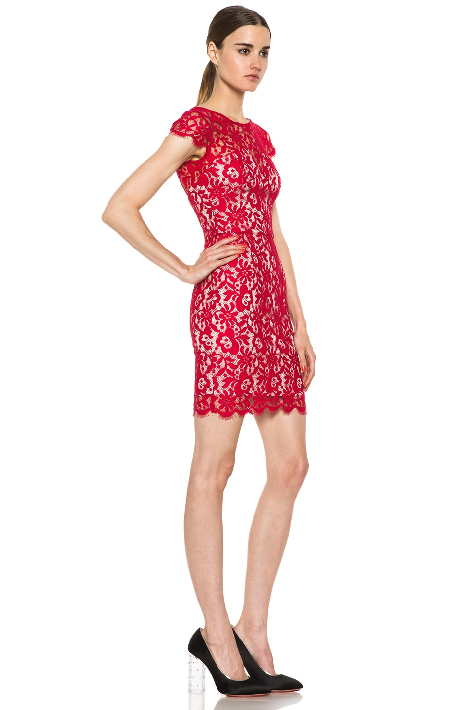 Image 3 of NICHOLAS Colette Lace Knit Dress in Red