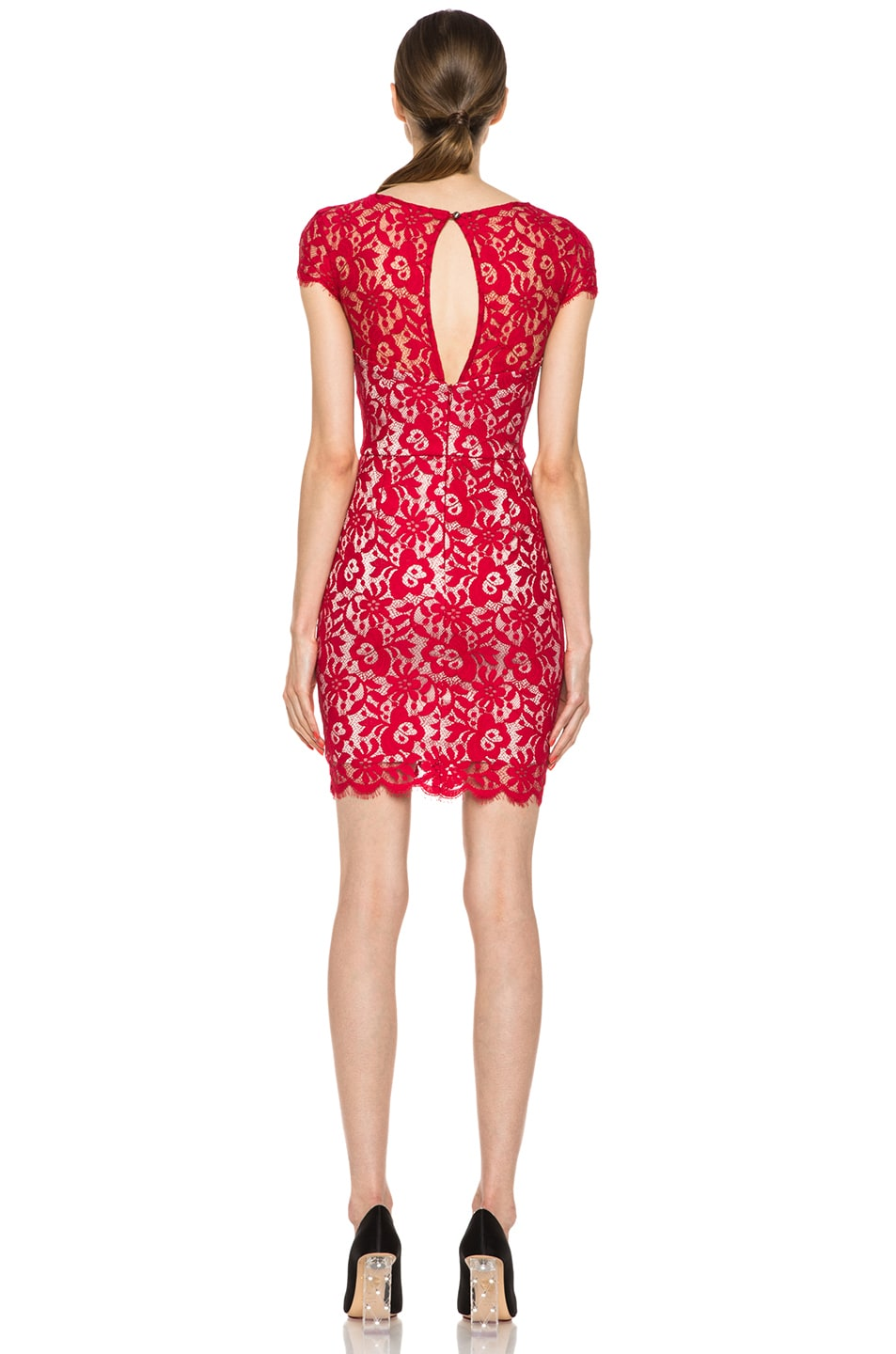 Image 4 of NICHOLAS Colette Lace Knit Dress in Red