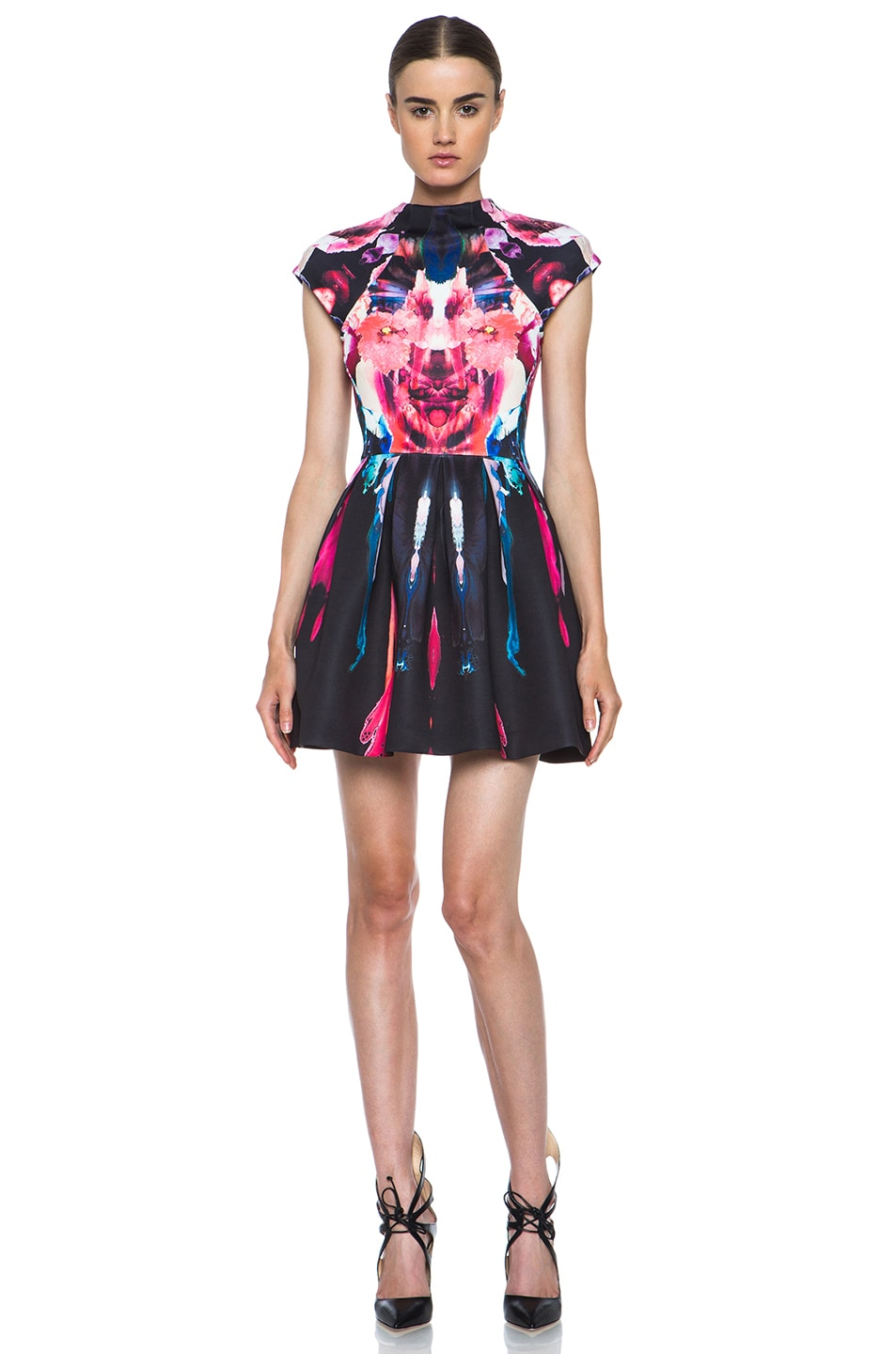 Image 1 of NICHOLAS Melted Floral Scuba Pleat Dress in Pink Multi