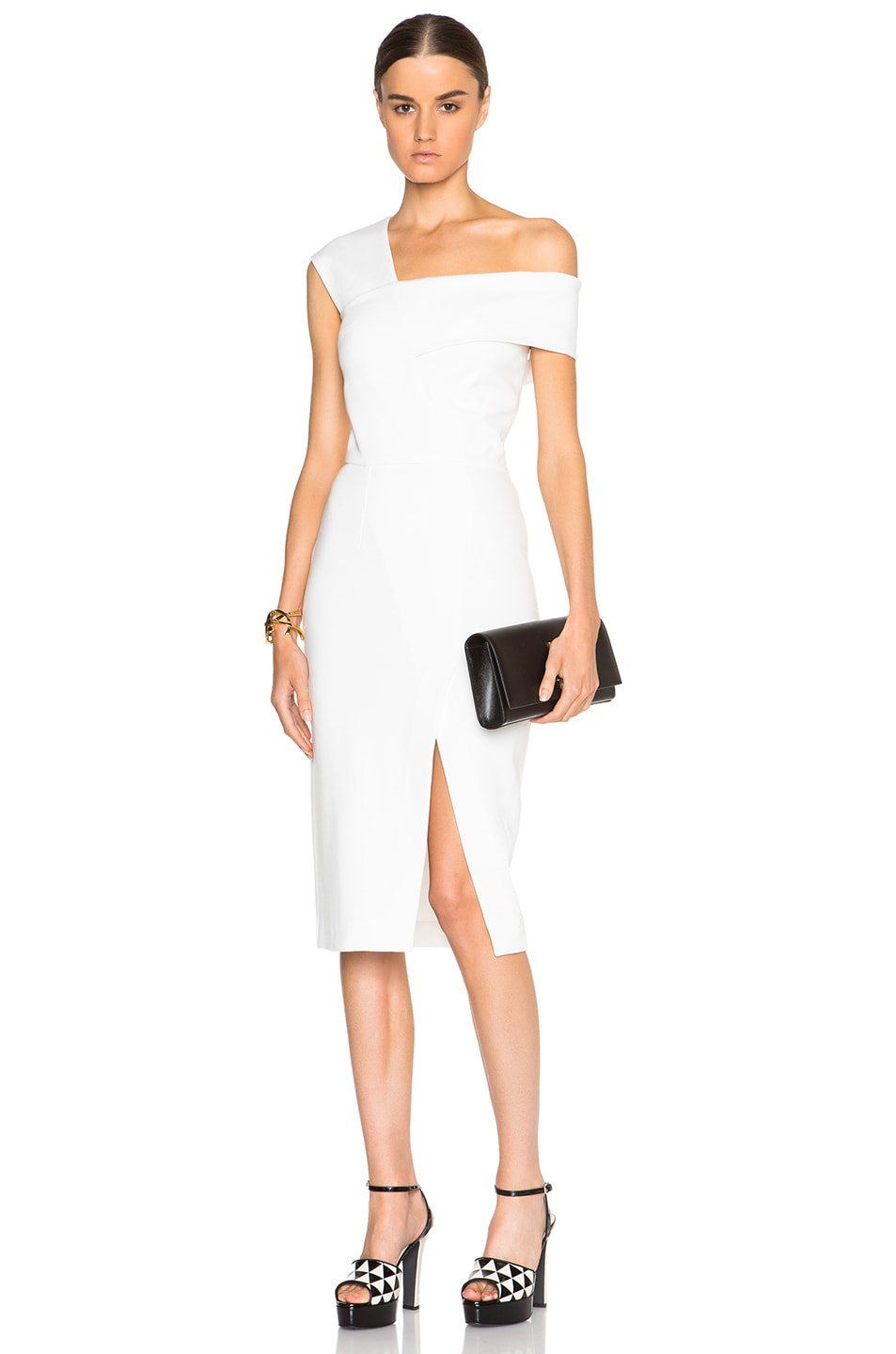Image 1 of NICHOLAS One Shoulder Dress in White