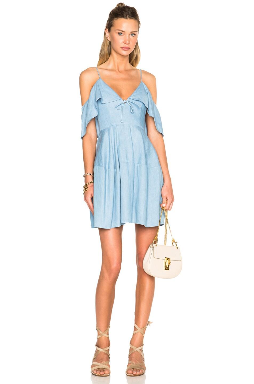 df0fd60bb008 Image 1 of NICHOLAS Chambray Deep V Off Shoulder Dress in Light Blue