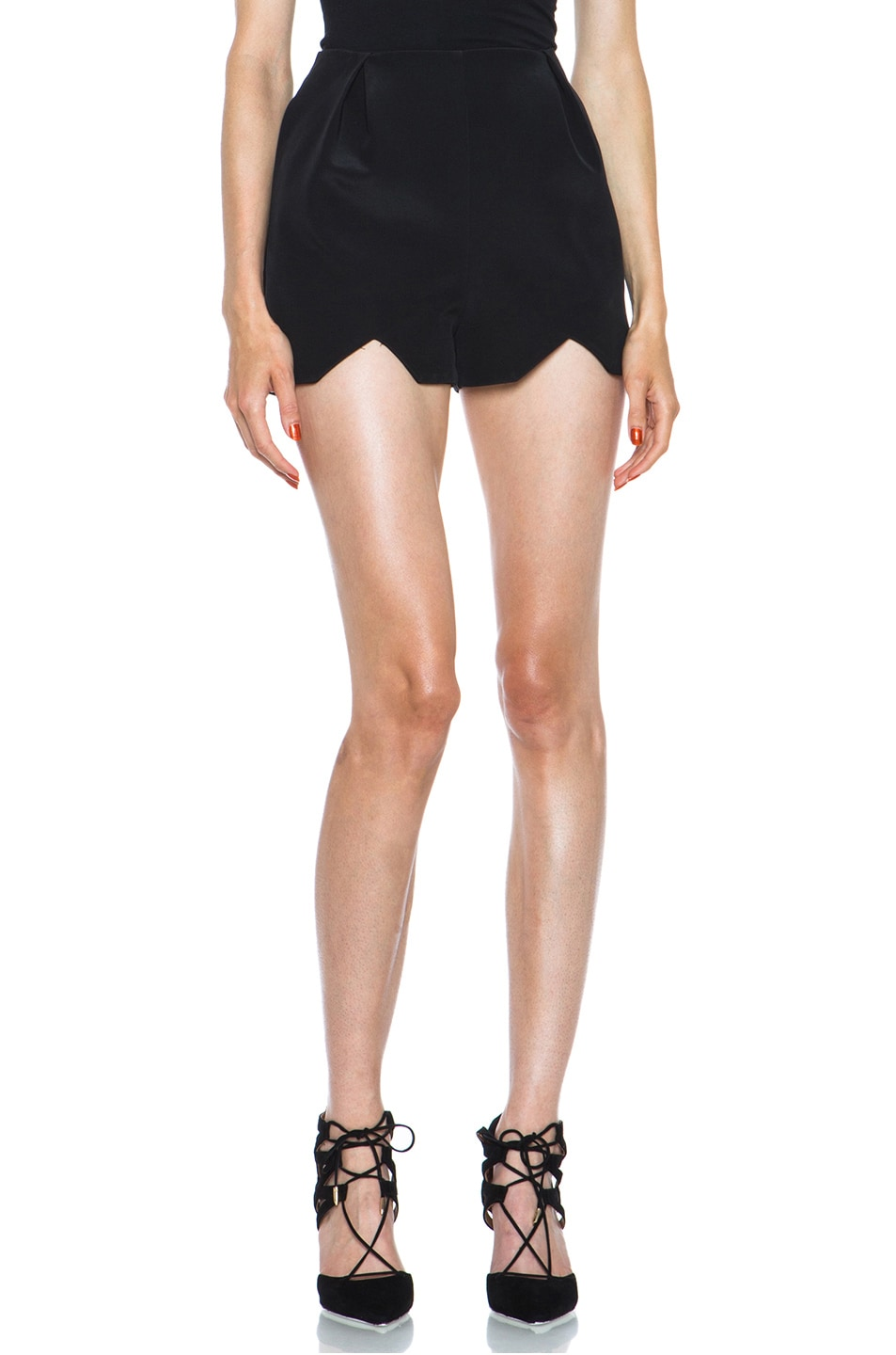 Image 1 of NICHOLAS Bonded Silk Shorts in Black