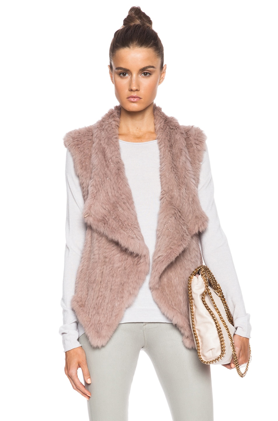 Image 1 of NICHOLAS Knitted Fur Vest in Taupe
