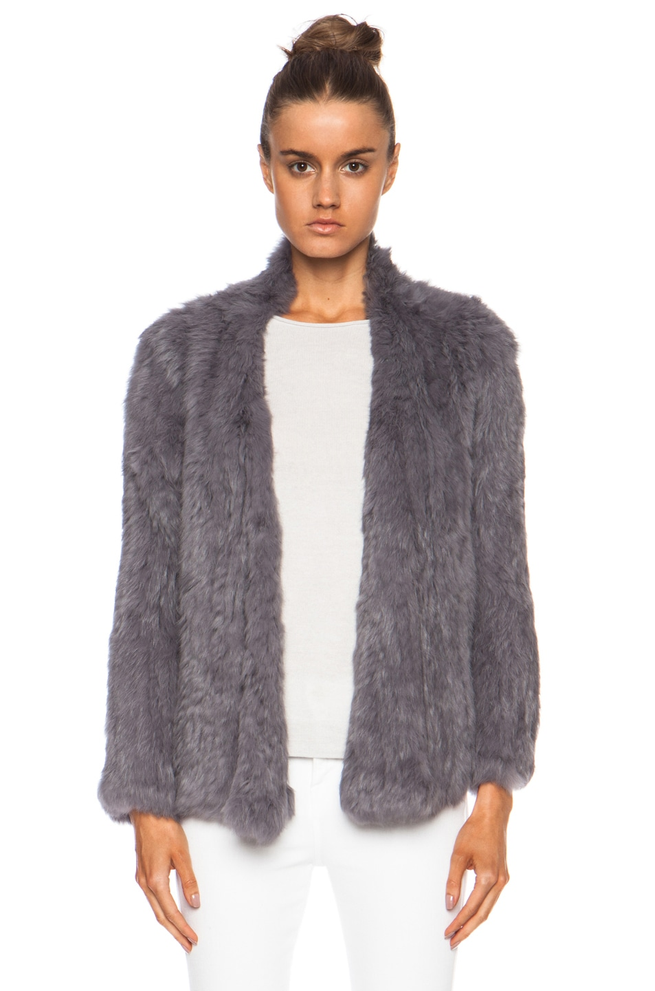 Image 1 of NICHOLAS Knitted Fur Jacket in Slate Grey