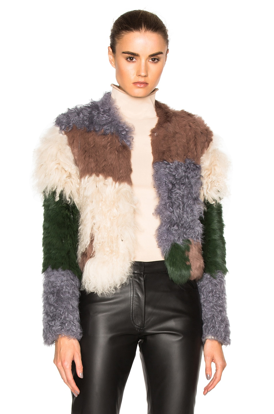 Image 1 of NICHOLAS Mixed Fur Jacket in Mottled Green