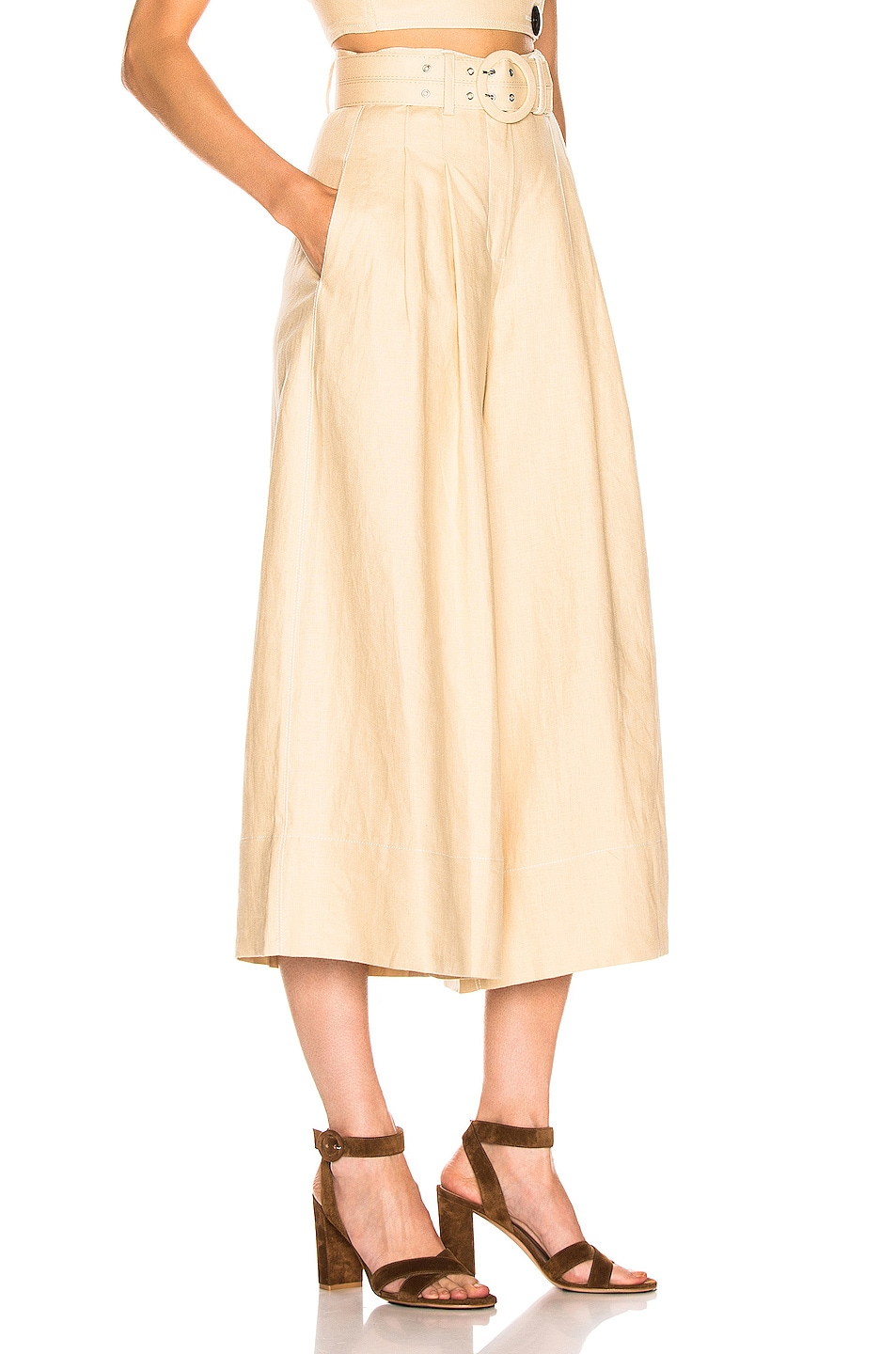 Image 2 of NICHOLAS Belted Wide Leg Pant in Champagne
