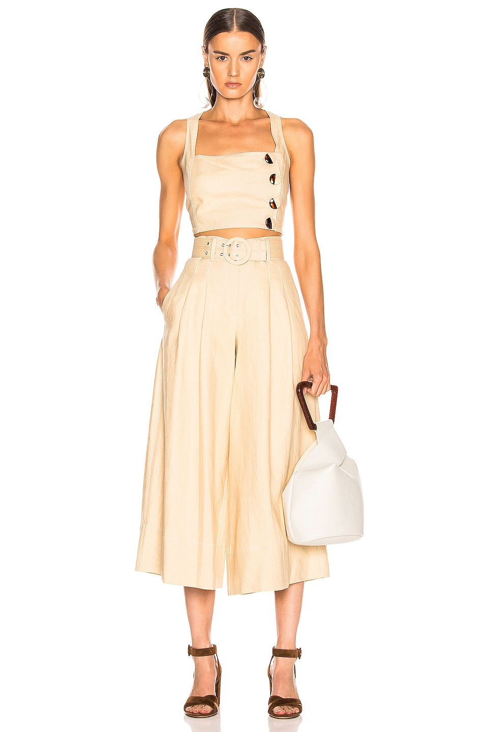 Image 5 of NICHOLAS Belted Wide Leg Pant in Champagne