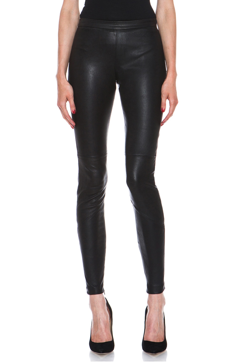 Image 1 of NICHOLAS Stretch Leather Legging in Black