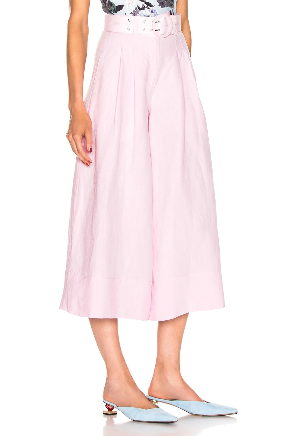 Image 2 of NICHOLAS Belted Wide Leg Pant in Light Pink