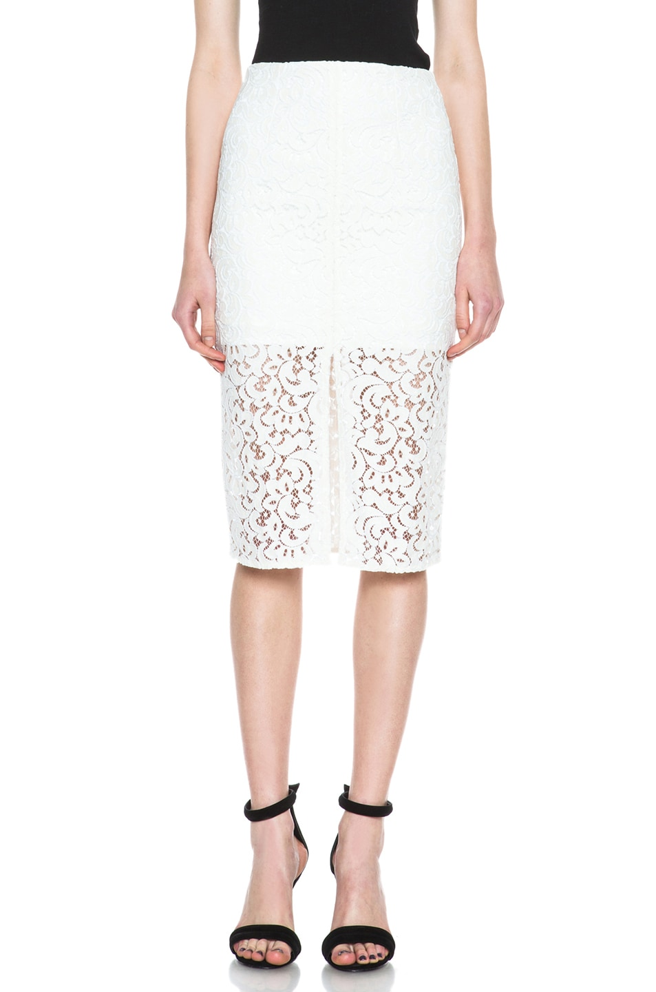 Image 1 of NICHOLAS Pencil Crochet Knit Skirt in Ivory