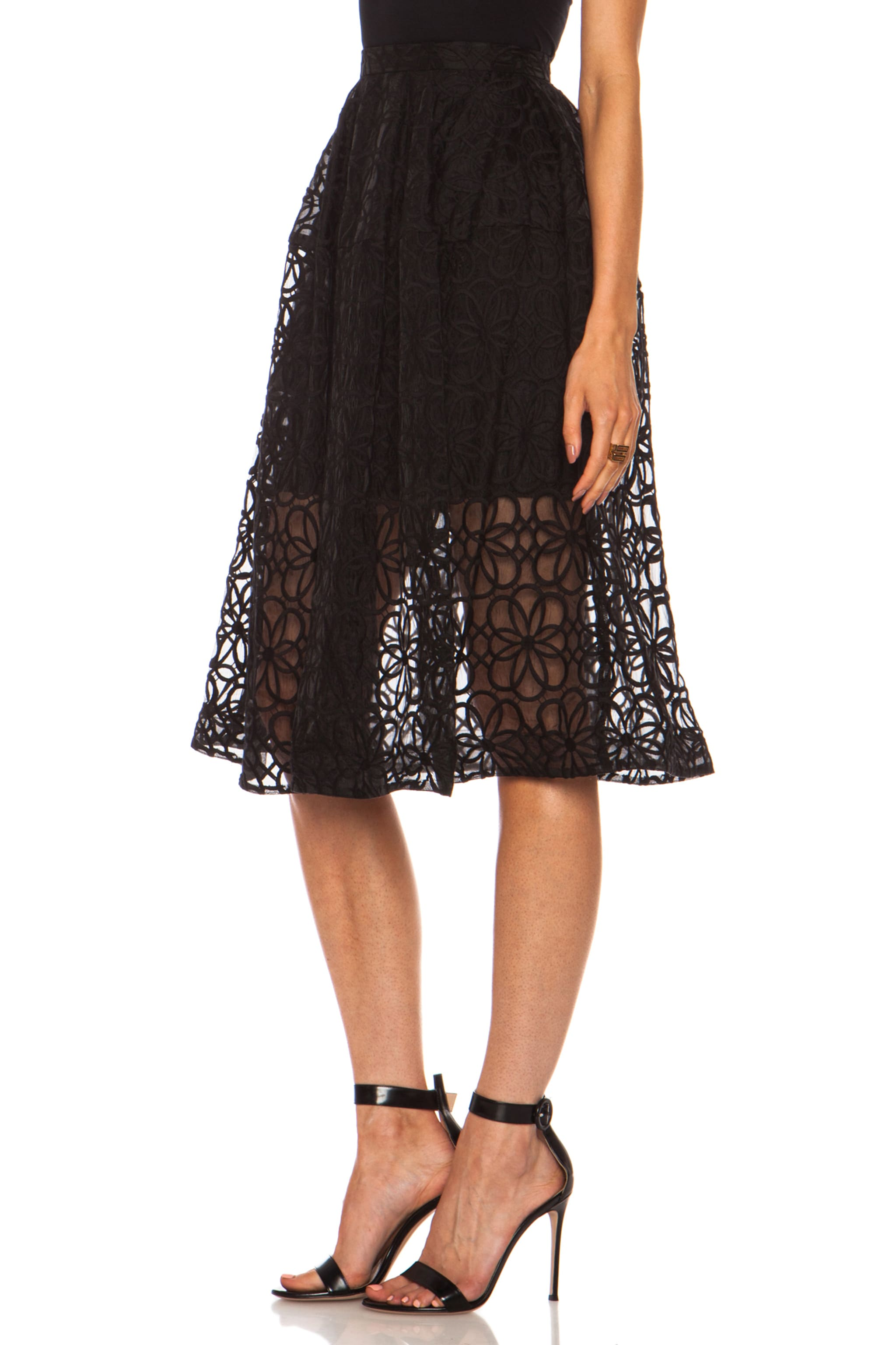 Image 2 of NICHOLAS Nylon Organza Lace Mid Length Ball Skirt in Black