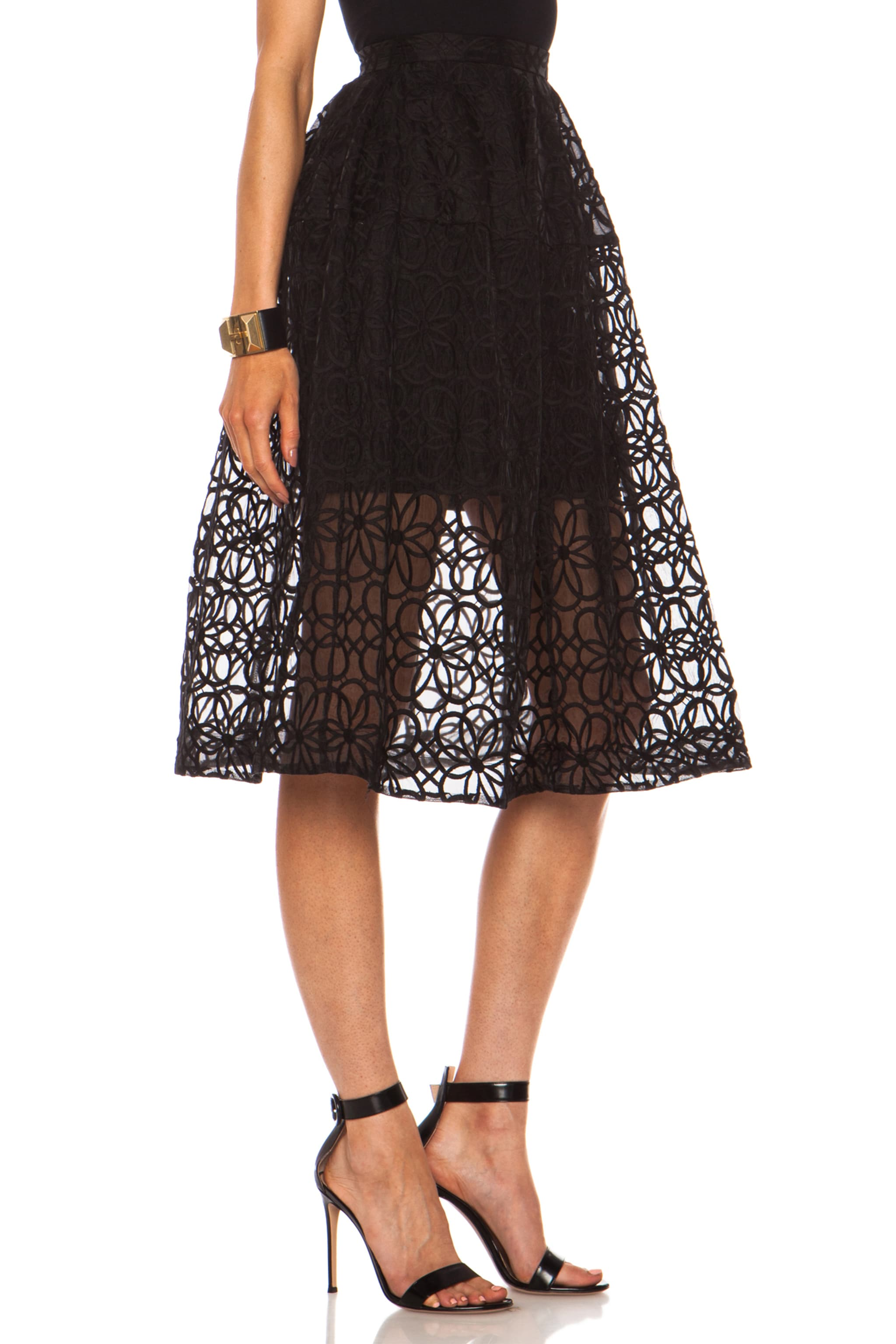 Image 3 of NICHOLAS Nylon Organza Lace Mid Length Ball Skirt in Black