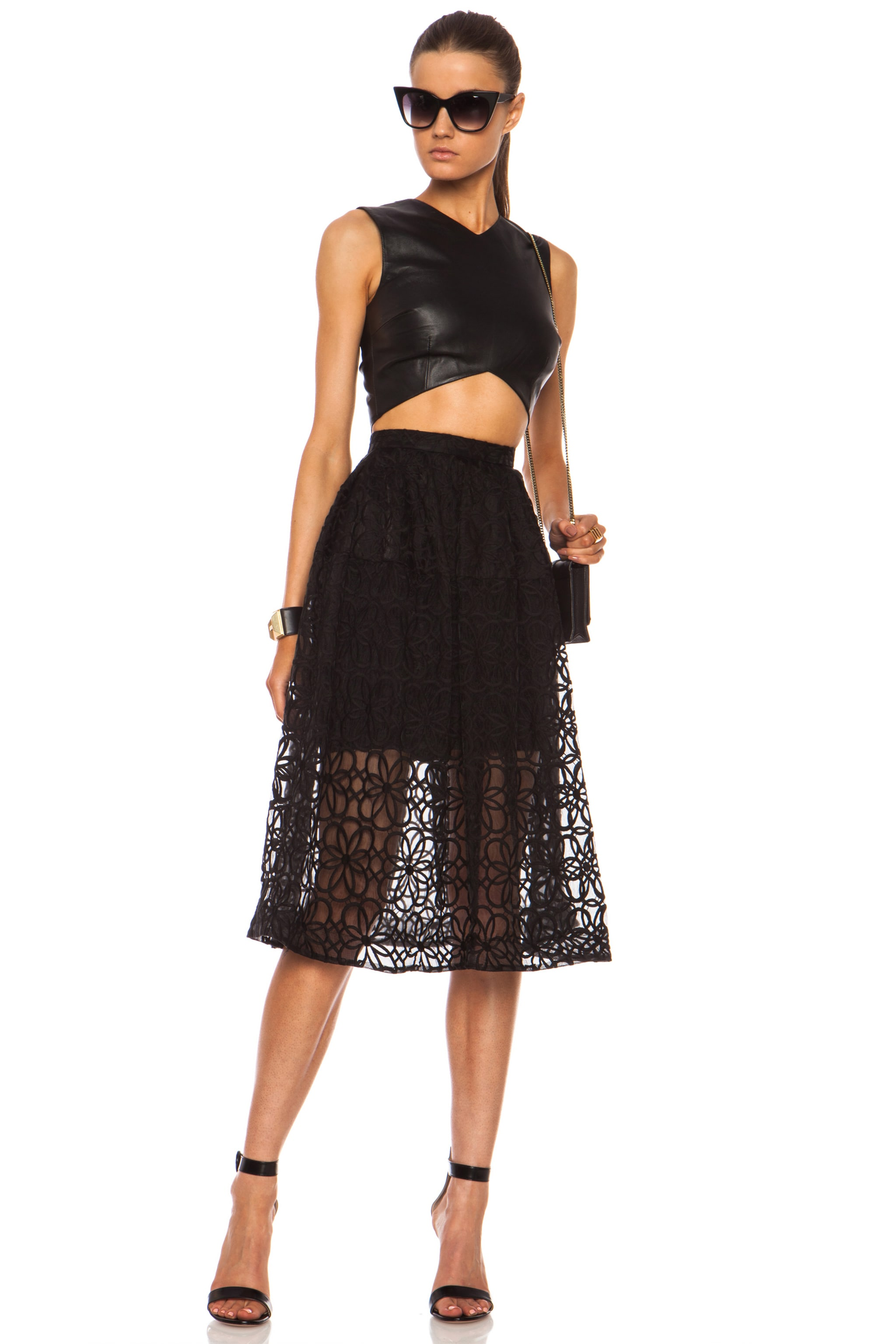 Image 5 of NICHOLAS Nylon Organza Lace Mid Length Ball Skirt in Black