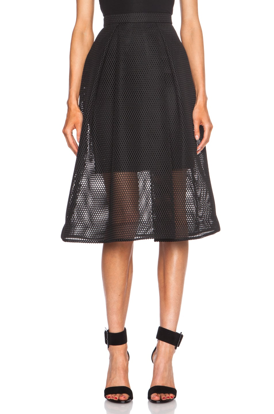 Image 1 of NICHOLAS Honeycomb Poly Mesh Ball Skirt in Black